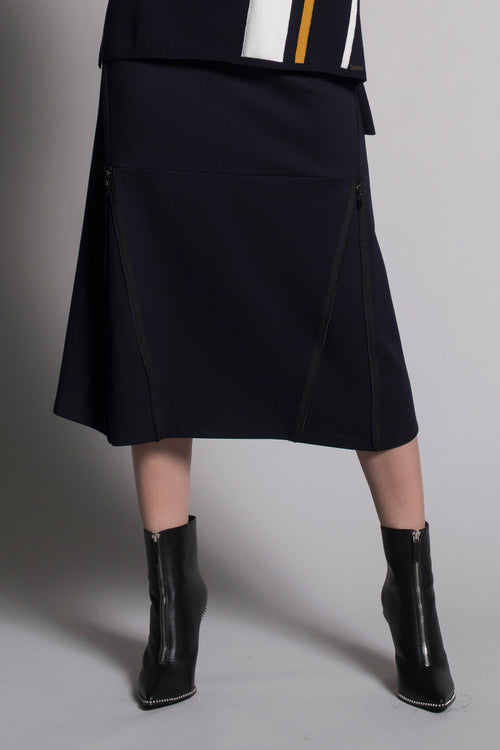 Zipper Trim Long Skirt in deep navy by Picadilly Canada