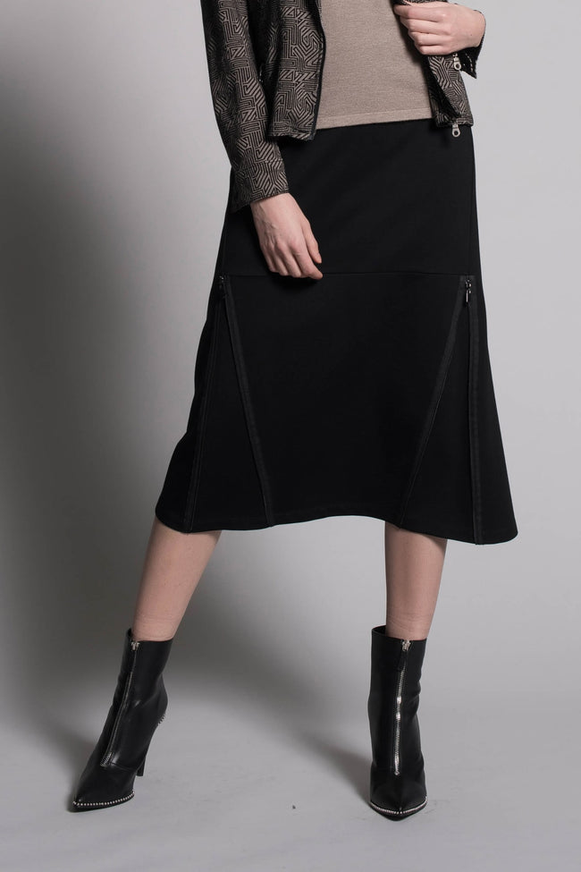 Zipper Trim Long Skirt in black by Picadilly Canada