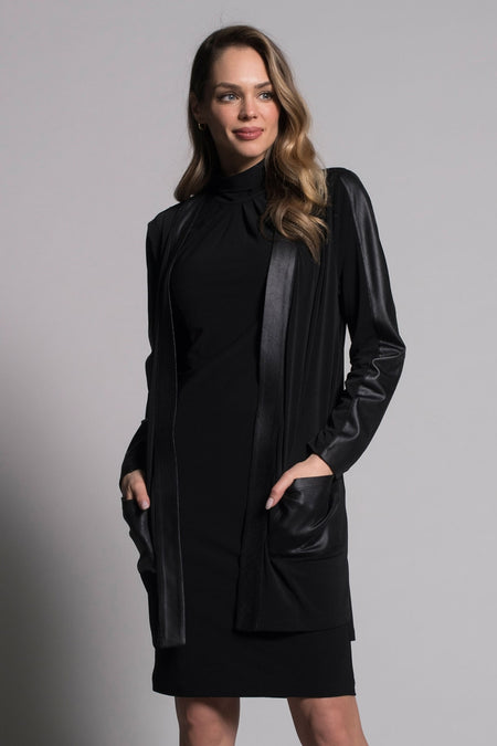Draped Collar Sweater Jacket With Pockets
