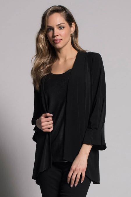 Embellished Cold-Shoulder V-Neck Top