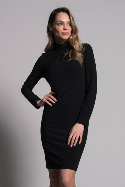 Long Sleeve Pleated Neckline Dress by picadilly canada