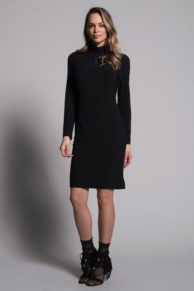 full look Long Sleeve Pleated Neckline Dress by picadilly canada