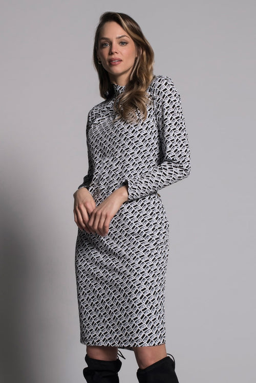 Geometric Long Sleeve Pleated Neckline Dress by picadilly canada
