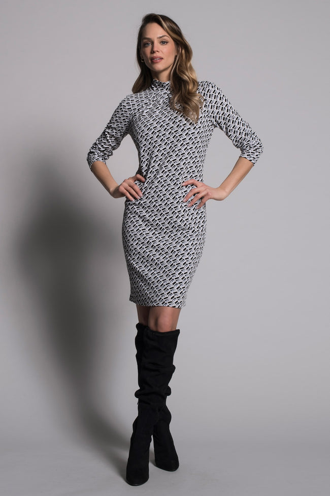full look of the Geometric Long Sleeve Pleated Neckline Dress by picadilly canada