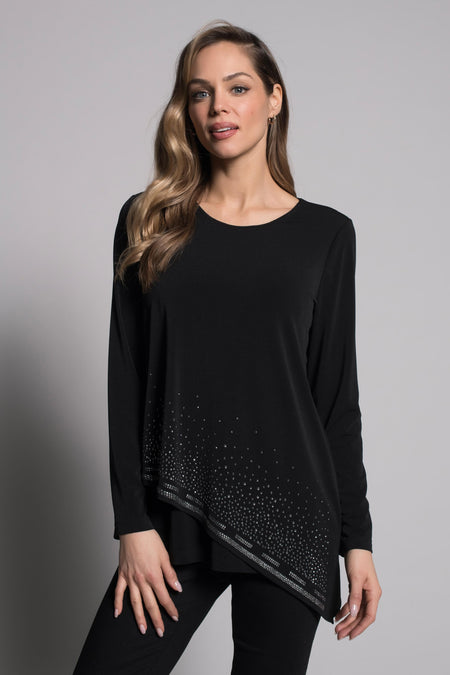 Sequin Trim Top with Button and Bow Detail