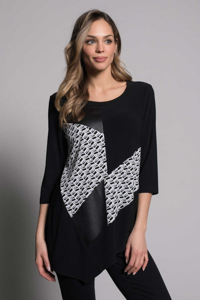 Fabric Combo Top with Asymmetric Hem by picadilly canada