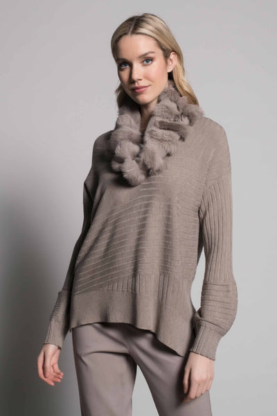Textured Sweater Top With Slits in taupe by picadilly canada