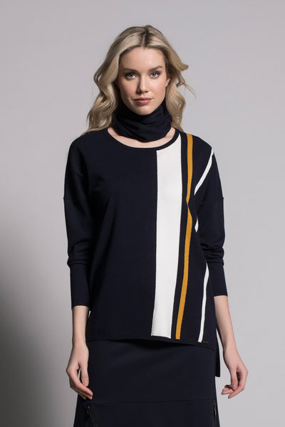 Stripe Sweater in Navy by Picadilly Canada