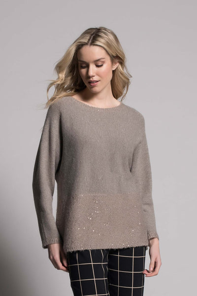 Sequin Trim Top with Button and Bow Detail in taupe by Picadilly Canada