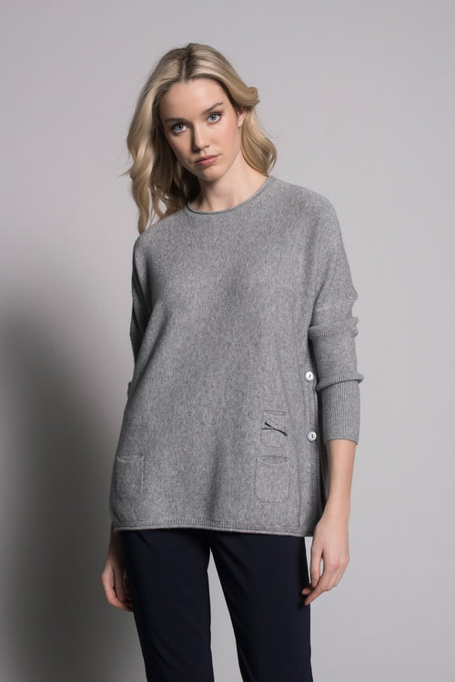 grey flared sweater top with pockets by picadilly