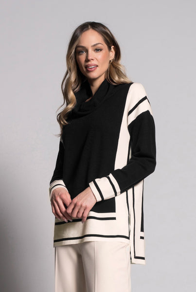 Drop Shoulder Top With Draped Neck in black and white by picadilly canada