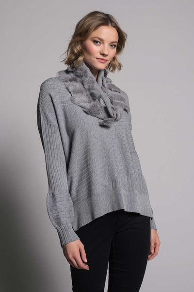Textured Sweater Top With Slits in grey by picadilly canada