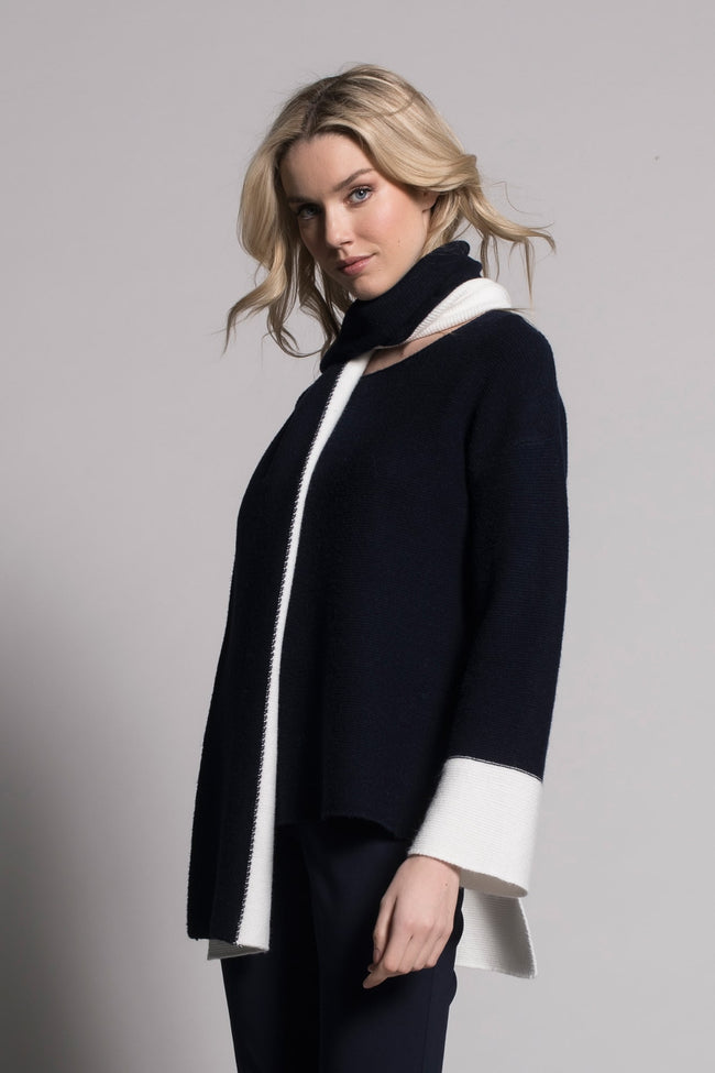 Two Tone Top in navy and white by Picadilly Canada