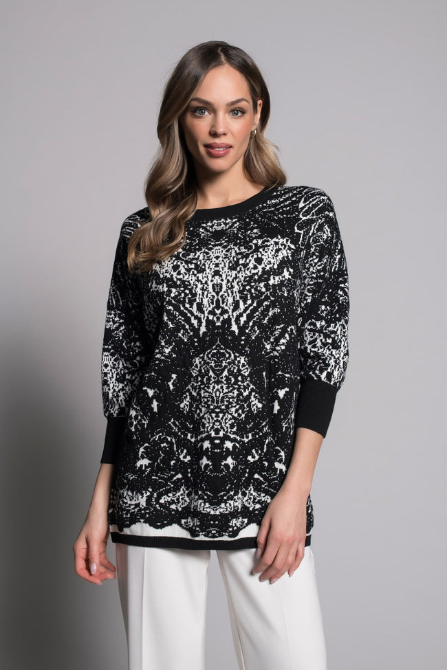 Dolman Sleeve Jacquard Sweater in  black and white by picadilly canada