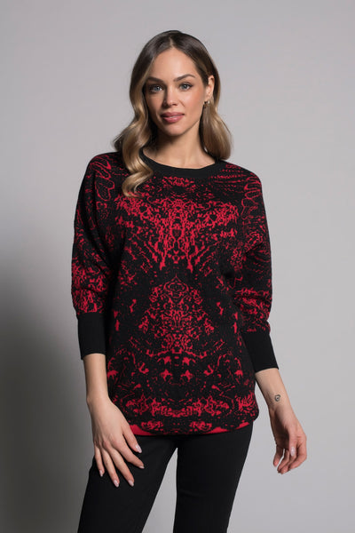 Dolman Sleeve Jacquard Sweater in red by picadilly canada