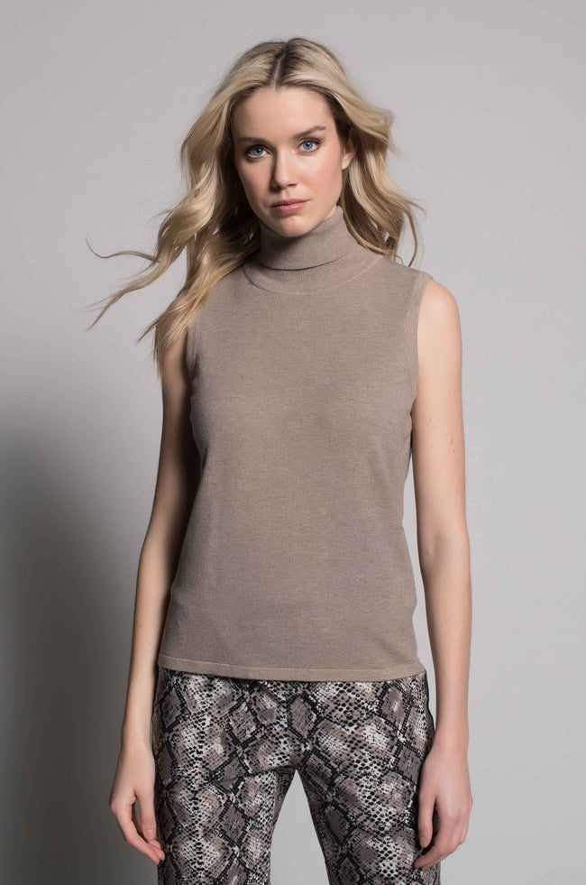 Turtle Neck Tank in taupe by Picadilly Canada