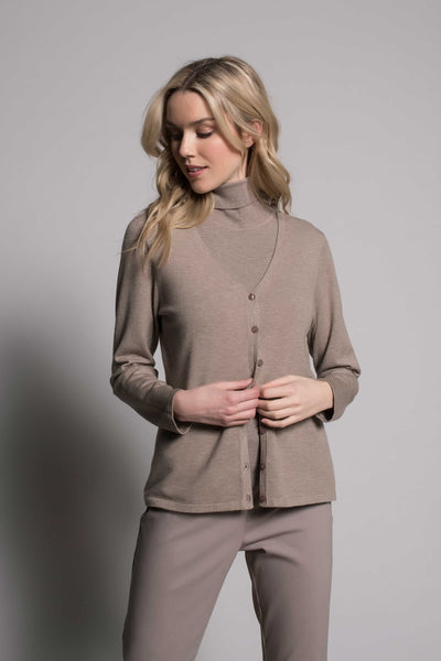 Taupe cardigan by Picadilly Canada