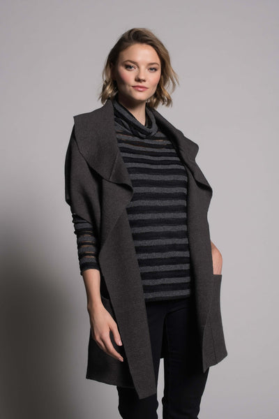 grey draped collar sweater jacket with pocked by Picadilly