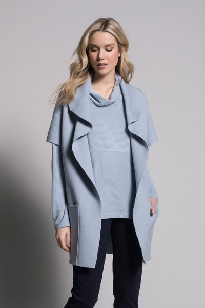 Baby blue draped collar sweater jacket with pocked by Picadilly