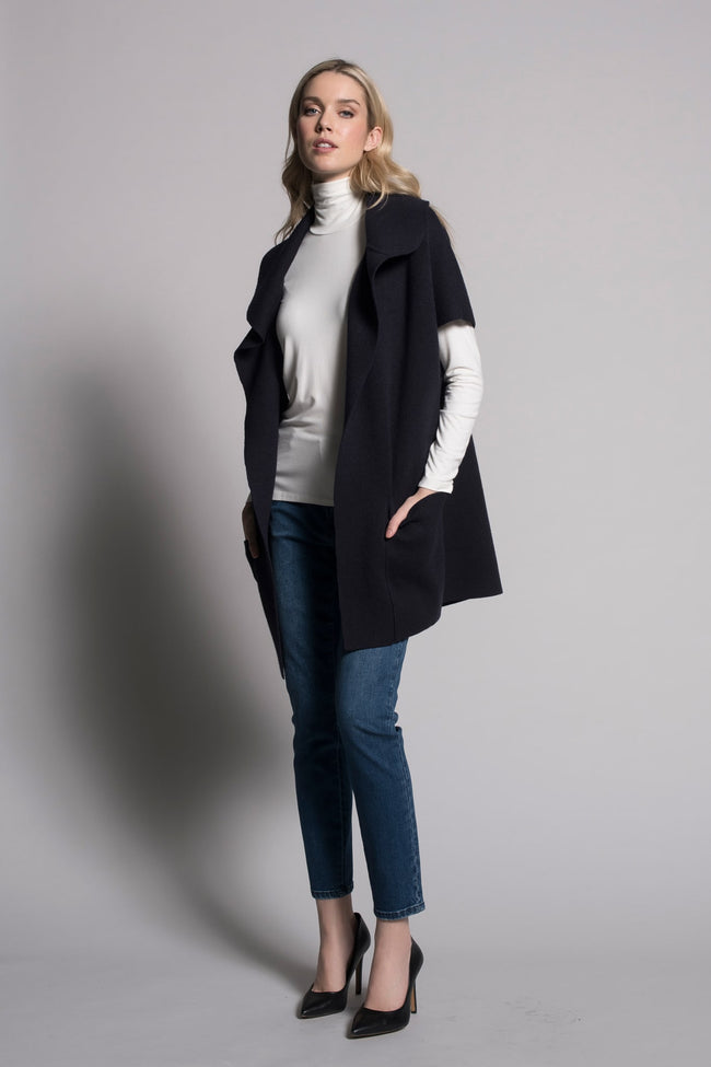 Deep navy draped collar sweater jacket with pocked by Picadilly