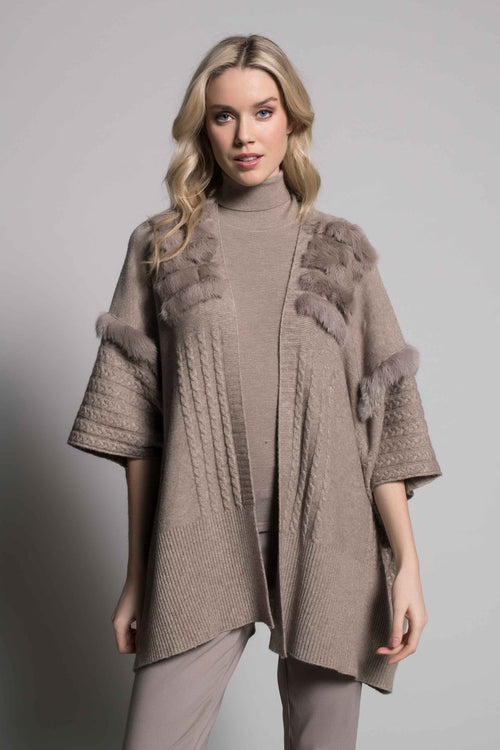 Fur-Trim Poncho Sweater Jacket in taupe by Picadilly Canada
