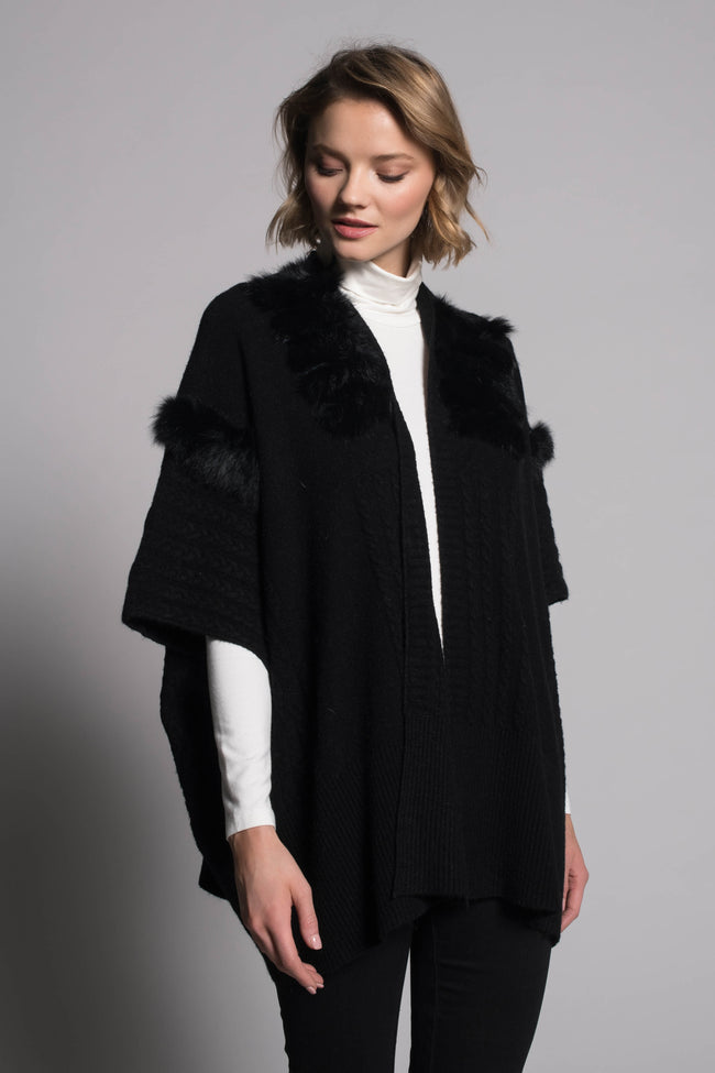 Fur-Trim Poncho Sweater Jacket in black by Picadilly Canada