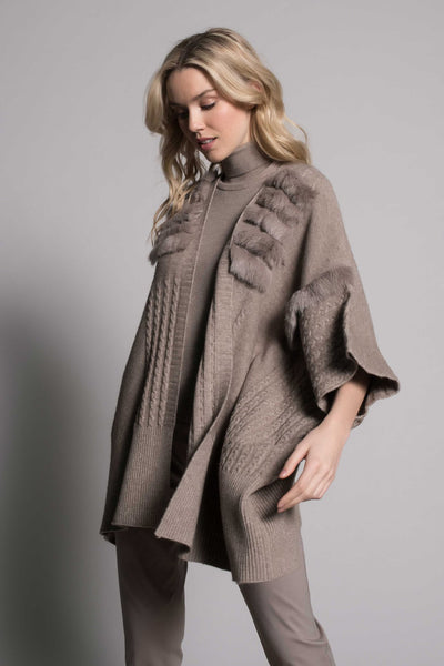 side view of Fur-Trim Poncho Sweater Jacket by Picadilly Canada