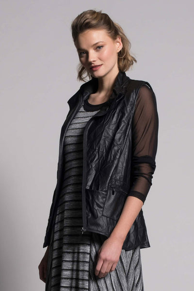 Asymmetric Zip-Front Vest With Pocket by picadilly canada
