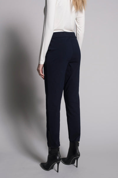 back view of Zipper Trim Ankle Pants in deep navy by picadilly canada
