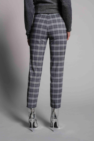 back view of the Plaid Printed Ankle Pants by picadilly canada
