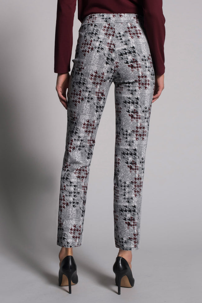 back view of the Houndstooth Print Pull-On Straight Leg Pants by picadilly canada