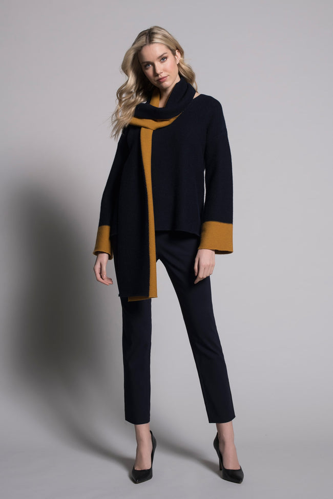 outfit featuring Pull-On Straight Leg Pants in deep navy by Picadilly canada