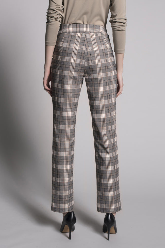 back view of the Plaid Print Pull-On Straight Leg Pants by picadilly canada