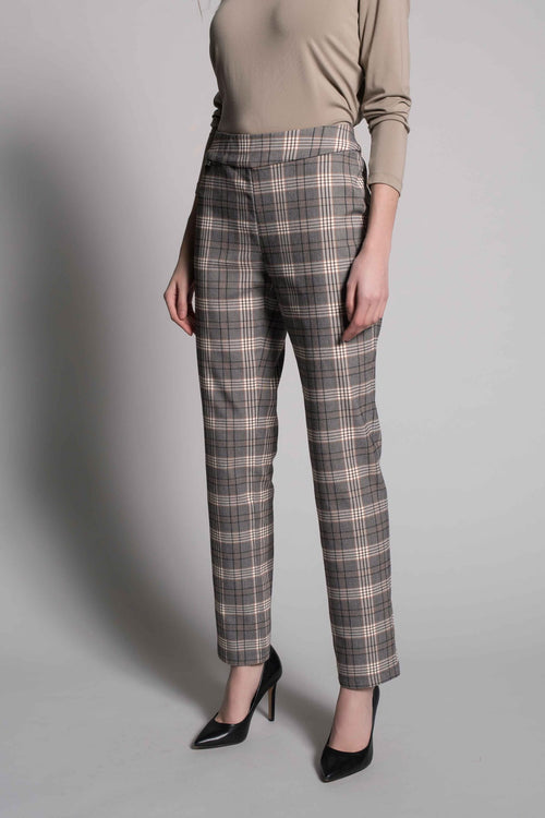 Plaid Print Pull-On Straight Leg Pants by picadilly canada