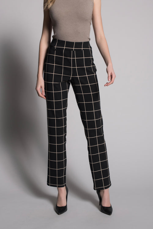 Grid Print Pull-On Straight Leg Pants by Picadilly Canada