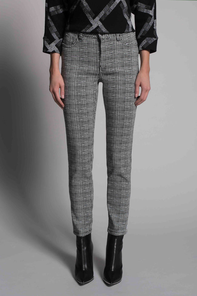 front view of the Grid Print Straight Leg Pants by picadilly canada