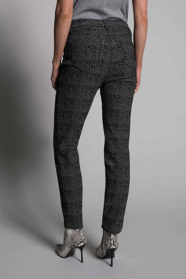 back view of the Plaid Print Straight Leg Pants by picadilly canada