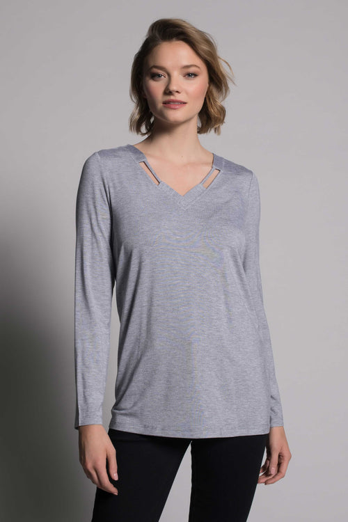 Long Sleeve V-Neck Detail Top in grey by picadilly caanada