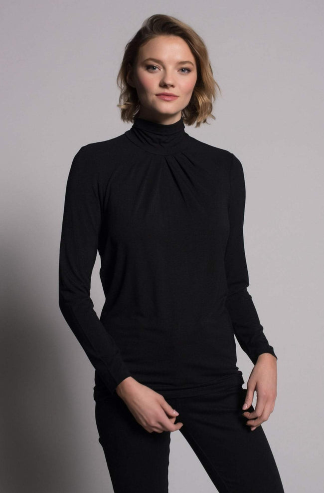 Pleated Mock Neck Top in black by Picadilly Canada