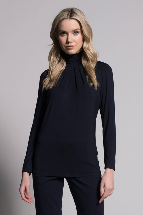 Pleated Mock Neck Top in deep navy by Picadilly Canada