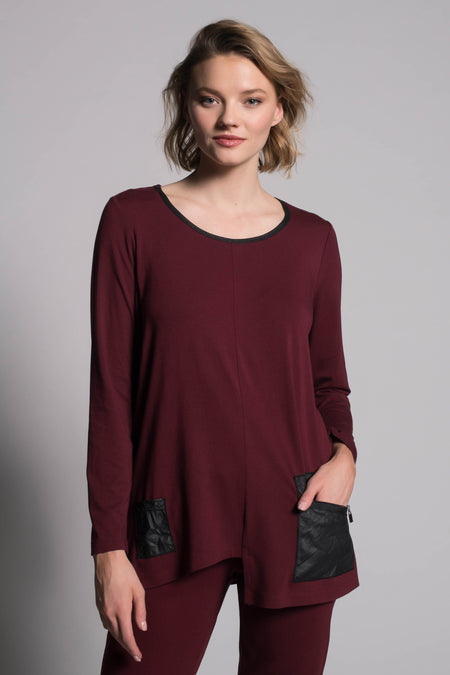 Textured Sweater Top With Slits