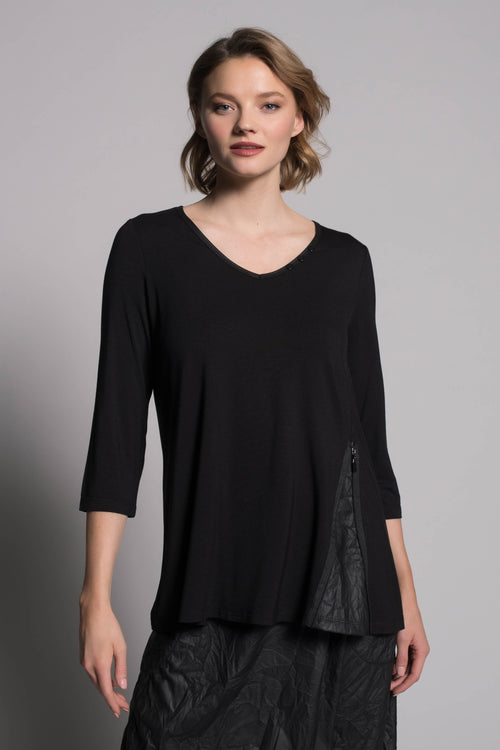 ¾ Sleeve V-Neck Zipper Trim Top by picadilly canada