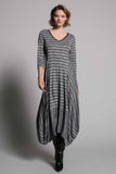 Grey Metallic Stripe ¾ Sleeve V-Neck Bubble Dress  by picadilly canada