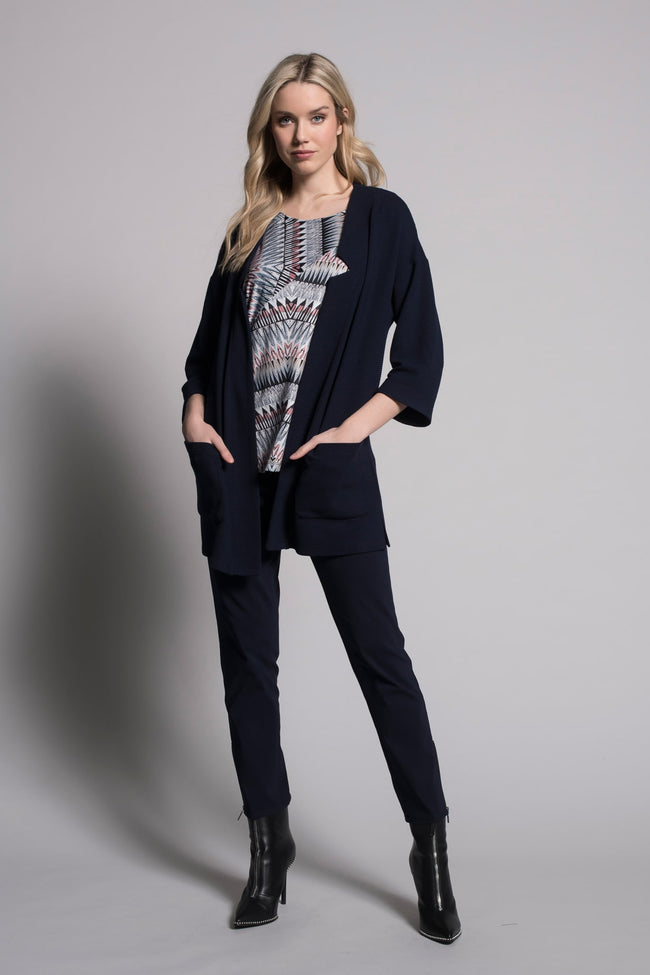 Full outfit image of deep navy notched open front jacket with pockets by picadilly