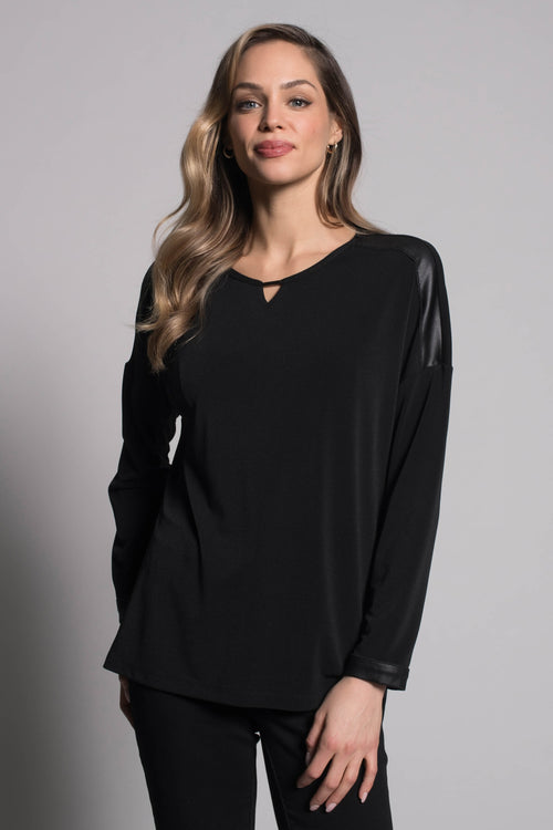 Long Sleeve Top with Keyhole Neckline by picadilly canada
