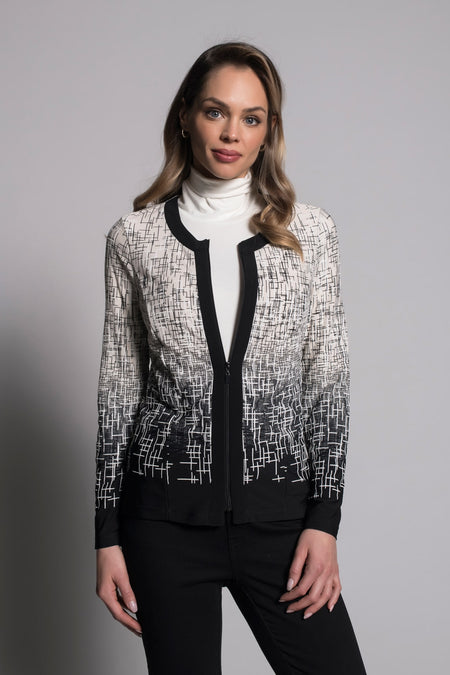 Contrast Trim Open-Front Jacket