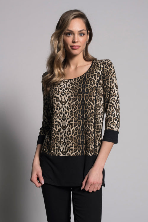 3/4 Sleeve Solid Trim Top By Picadilly Canada