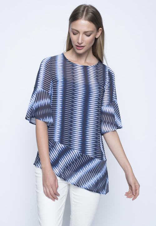 Ruffle Sleeve Top With Asymmetrical Hem