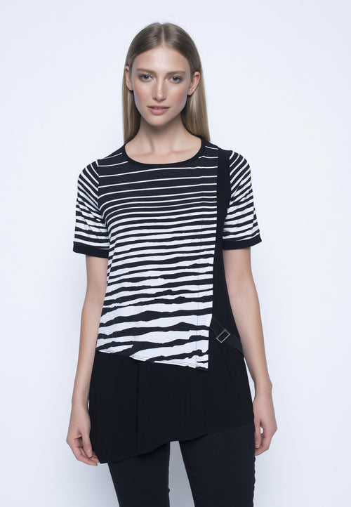 Short Sleeve Asymmetrical Top. Womens zebra print top.