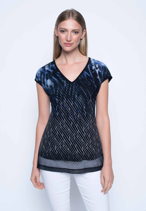 Womens V-Neck Top in blue